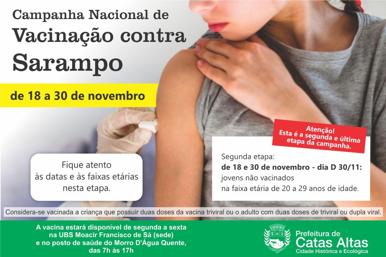 Catas Altas vacina adultos entre 20 e 29 anos contra sarampo até dia 30 de novembro
