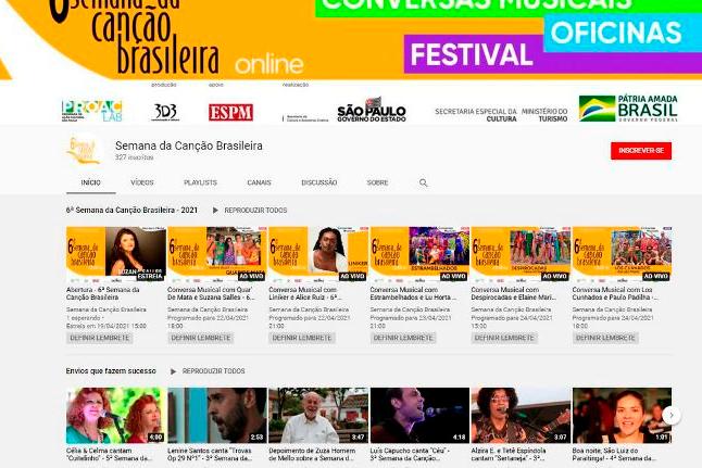 Sexta Semana da Canção Brasileira começa hoje de forma virtual